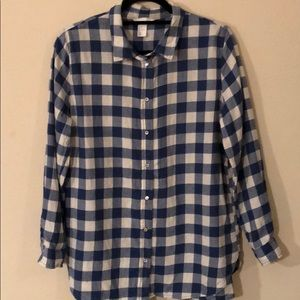 H&M blue and white gingham button down US 14